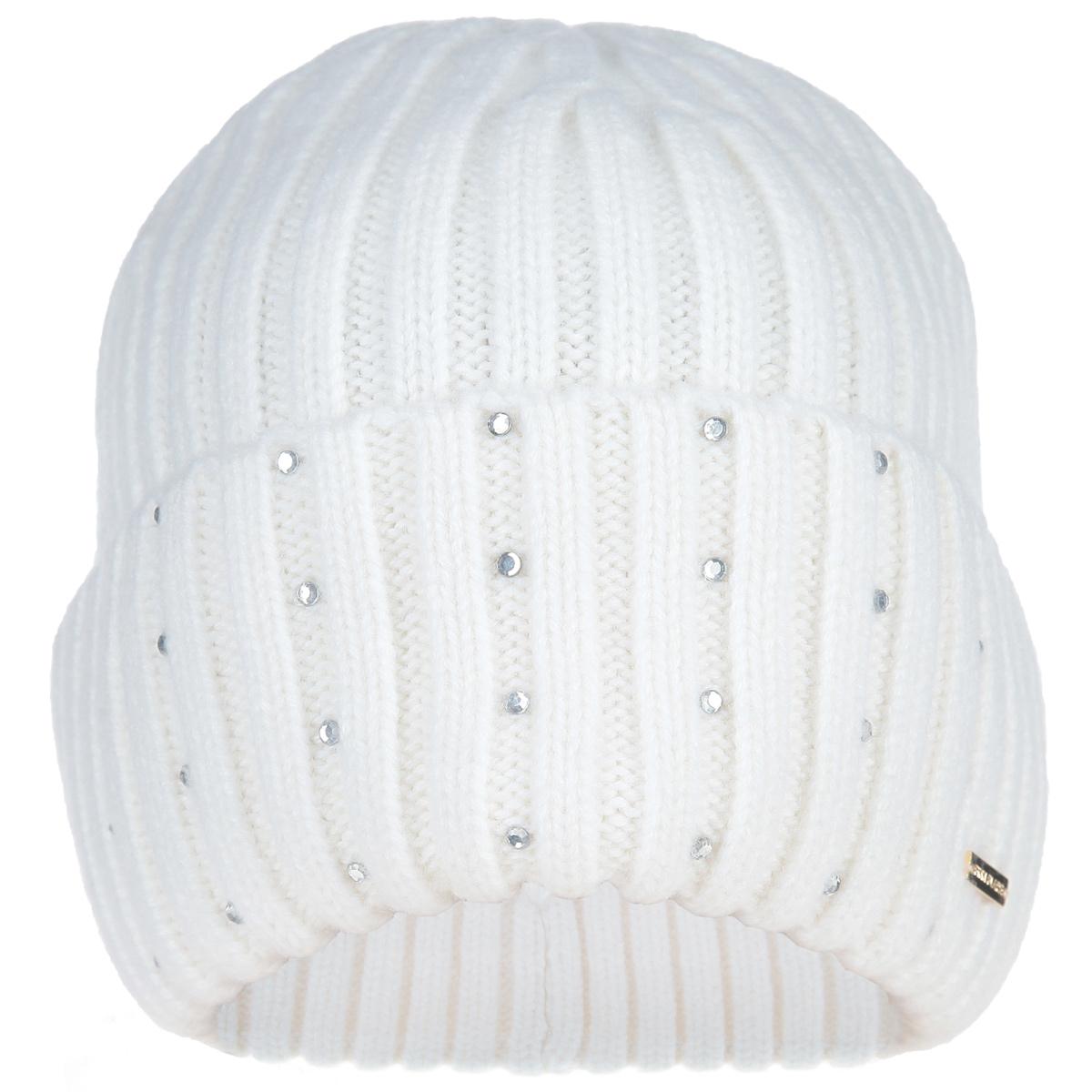 Шапка женская. W15-11120W15-11120Замечательная женская полушерстяная шапка Finn Flare с отворотом отлично дополнит ваш образ в холодную погоду. Шапочка оформлена фактурной вязкой. Декорирована небольшим элементом в виде металлической пластины с названием бренда и стразами вдоль отворота. Такая шапка составит идеальный комплект с модной верхней одеждой, в ней вам будет уютно и тепло!