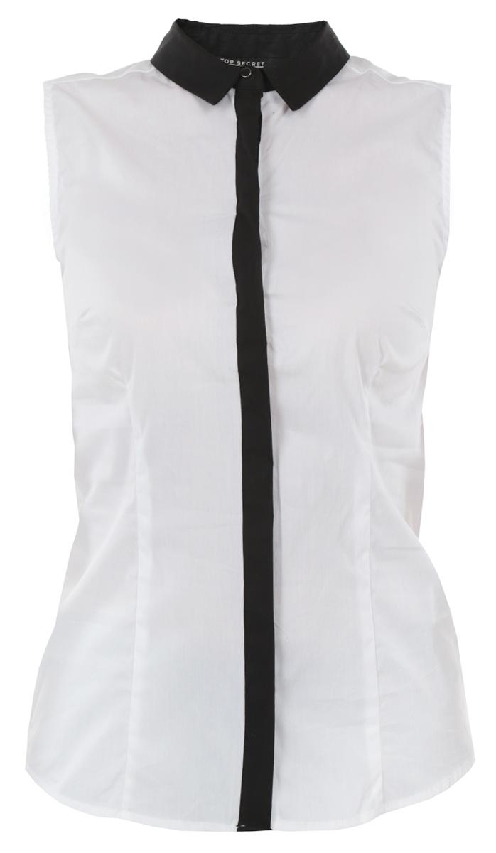 Блузка женская. SBW0205BISBW0205BIСтильная блузка Top Secret, выполненная из хлопка с добавлением полиамида и эластана, приятная на ощупь и не сковывает движения. Модель прямого кроя с отложным воротником, полукруглым низом и без рукавов. Изделие застегивается на пуговицы по всей длине. Модная блузка займет достойное место в вашем гардеробе.