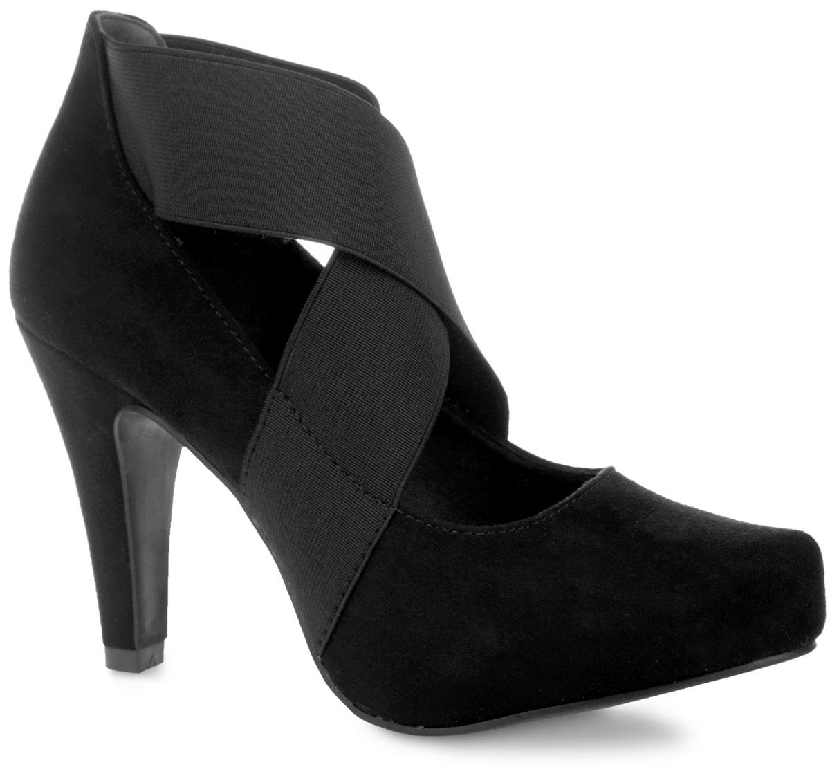 Туфли женские. 2-2-24404-25-0012-2-24404-25-001Оригинальные женские туфли от Marco Tozzi поразят вас своим дизайном! Модель выполнена из искусственной замши. Верхняя часть изделия декорирована эластичными вставками, которые зафиксируют обувь на ноге. Зауженный носок добавит женственности в ваш образ. Подкладка - из текстиля, и стелька - их искусственной кожи, обеспечат максимальный комфорт при ходьбе. Высокий конусовидный каблук компенсирован скрытой платформой. Подошва с рифленым протектором не скользит. Изысканные туфли добавят в ваш образ немного шарма и подчеркнут ваш безупречный вкус.