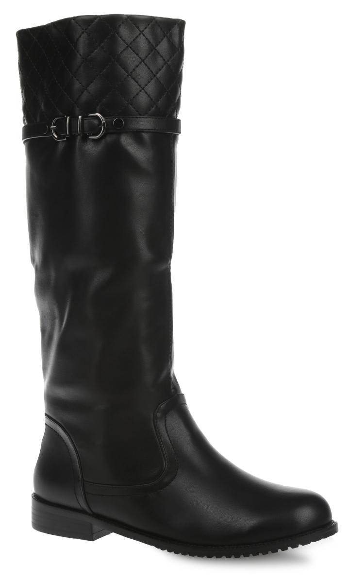 5820-05-1MСтильные женские сапоги от Inario - займут достойное место в вашем гардеробе. Модель изготовлена из искусственной кожи и дополнена ремешком с металлической пряжкой. Верхняя часть голенища оформлена декоративной прострочкой. Подкладка и стелька из искусственного меха согреют ваши ноги и обеспечат комфорт. Сапоги застегиваются на удобную застежку- молнию, расположенную на одной из боковых сторон. Низкий каблук и подошва с рельефным протектором обеспечивают отличное сцепление на любой поверхности. Стильные сапоги покорят вас своим дизайном и удобством!