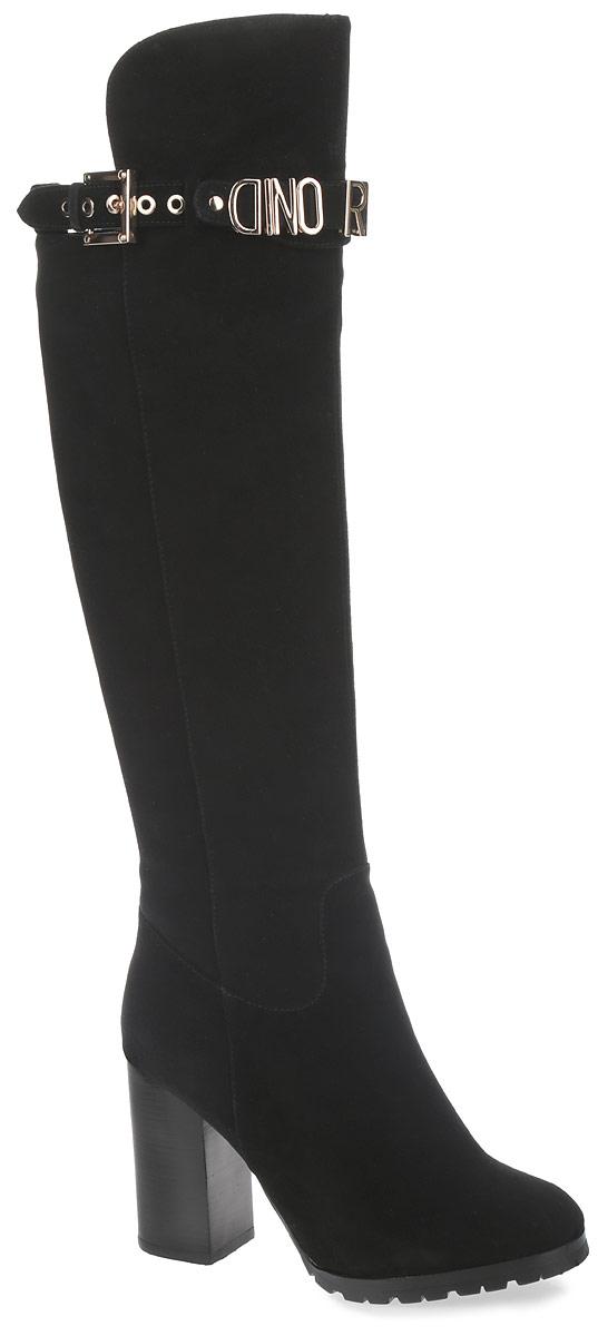 Ботфорты женские. 210-146-05D (EM)210-146-05D (EM)Стильные женские ботфорты от Dino Ricci покорят вас с первого взгляда. Модель изготовлена из высококачественного натурального велюра и дополнена фактурными швами. Подкладка - из ворсина и натурального меха, и стелька - из натурального меха, защитят ноги от холода и обеспечат комфорт. Верхняя часть изделия оформлена декоративным ремешком со стильной фурнитурой. Модель застегивается на застежку-молнию, расположенную сбоку. Высокий каблук-кирпичик устойчив. Подошва из резины с рельефным протектором обеспечивает отличное сцепление на любой поверхности. В таких ботфортах вашим ногам будет уютно и комфортно. Они прекрасно дополнят ваш повседневный образ.