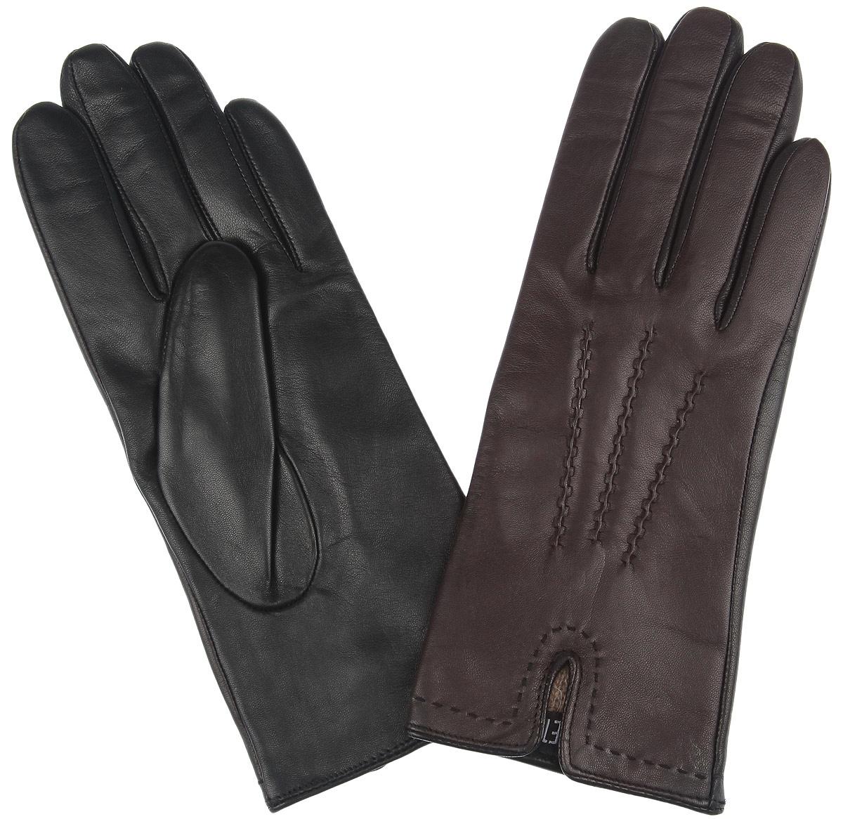 Перчатки женские. 12.2212.22-1 blackДвухцветные женские перчатки Fabretti из выполнены эфиопской перчаточной кожи ягненка, а их подкладка - из шерсти с добавлением кашемира. Лицевая сторона оформлена декоративными швами три луча и дополнена небольшим разрезом. Отличный вариант на каждый день, который станет прекрасным дополнением к вашему образу.