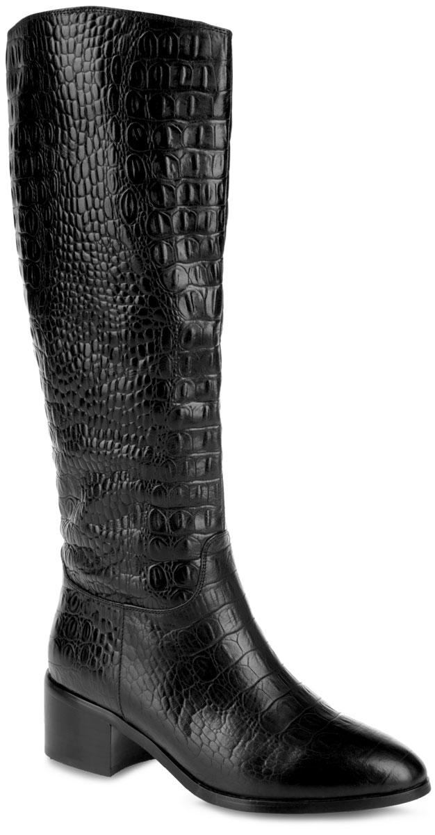 378-1142AMОригинальные женские сапоги от Winzor - отличный вариант на каждый день. Модель выполнена из натуральной кожи, оформленной тиснением под рептилию, и дополнена фактурными швами по верху. Подкладка из байки и натурального меха обеспечит комфорт и уют. Стелька из натурального меха защитит ваши ноги от холода. Сапоги застегиваются на застежку-молнию, расположенную на одной из боковых сторон и доходящую до середины голенища. Умеренной высоты каблук устойчив. Подошва с рельефным протектором обеспечивает отличное сцепление на любой поверхности. В таких сапогах вашим ногам будет уютно и комфортно. Они прекрасно дополнят ваш повседневный образ.