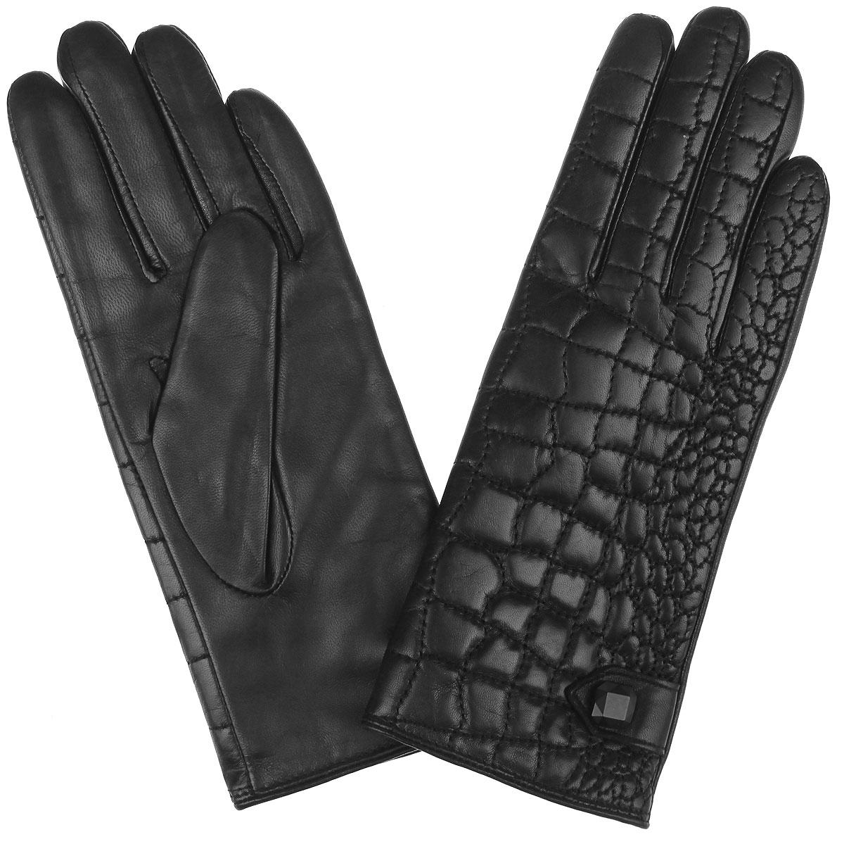 Перчатки женские. 9.829.82-1 blackПотрясающие женские перчатки Fabretti с подкладкой из шерсти и кашемира выполнены из мягкой и приятной на ощупь эфиопской перчаточной кожи. Лицевая сторона оформлена отстрочкой под кожу рептилии, а также хлястиком с оригинальной фурнитурой. Создайте эффектный образ и подчеркните свою яркую индивидуальность новым аксессуаром!