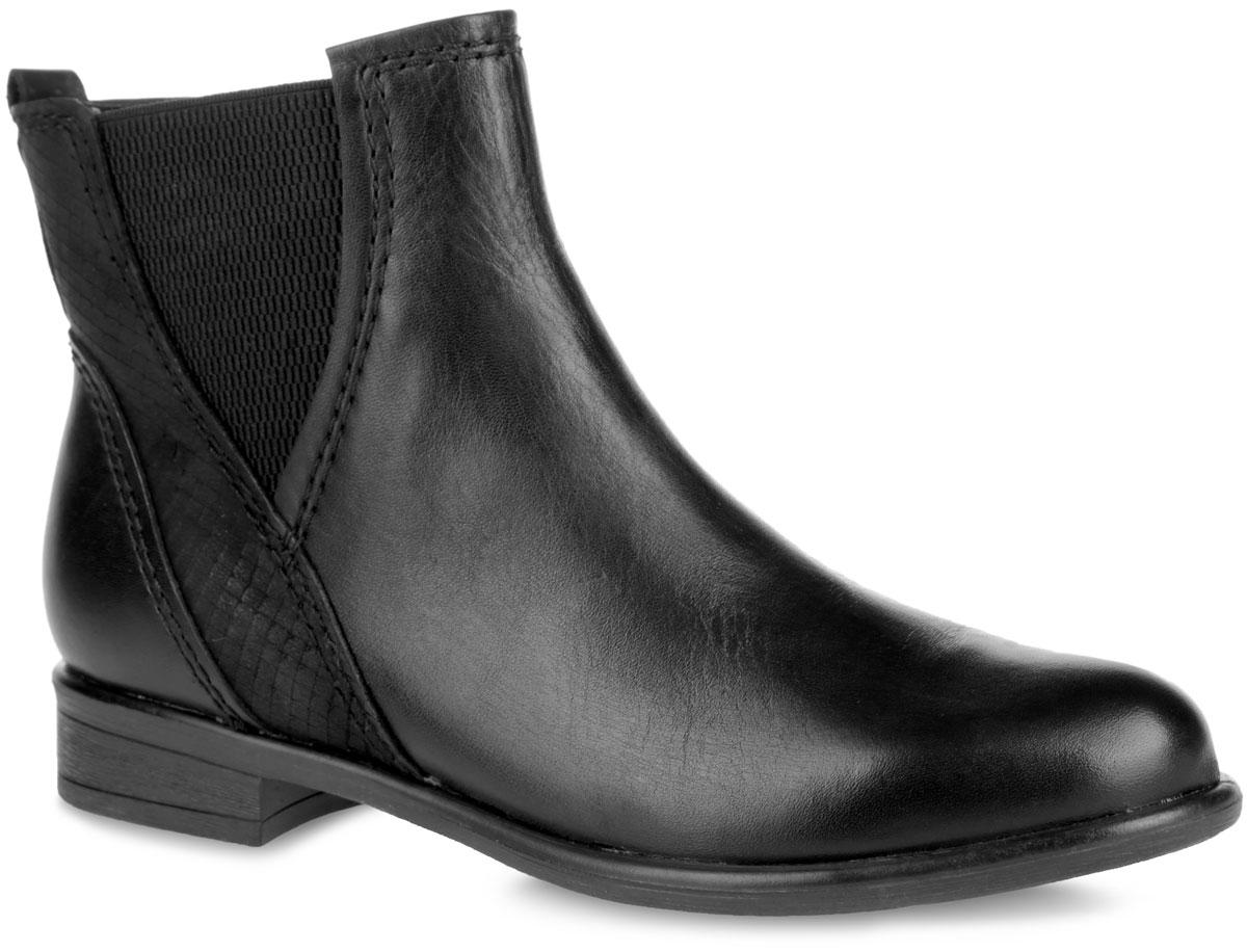 Ботинки женские. 2-2-25046-25-0962-2-25046-25-096Модные женские ботинки Marco Tozzi - идеальный вариант на каждый день. Модель выполнена из натуральной гладкой кожи и дополнена вставками из нубука. Сбоку изделие украшено фактурной эластичной вставкой. Задник оформлен декоративным ярлычком. Подкладка и анатомическая стелька из мягкой байки защитят ноги от холода и обеспечат комфорт. Ботинки застегиваются на застежку-молнию, расположенную на одной из боковых сторон. Умеренной высоты каблук и подошва с рельефным протектором обеспечивает отличное сцепление на любой поверхности. В таких ботинках вашим ногам будет уютно и комфортно. Они прекрасно дополнят ваш повседневный образ.