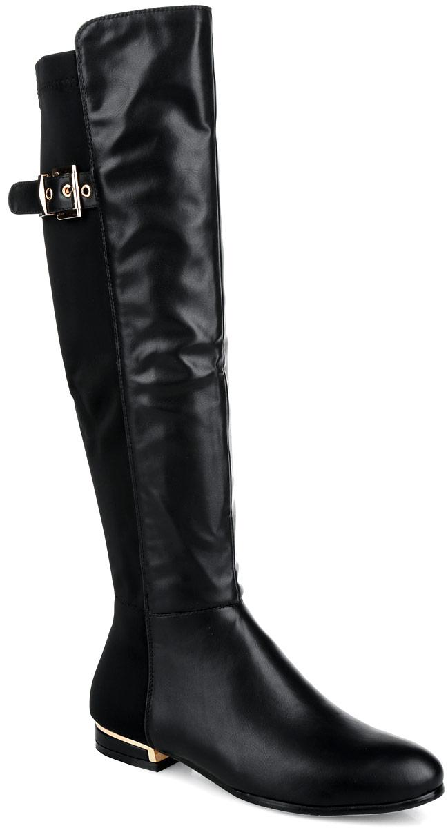 Сапоги женские. G898C-A75-AG898C-A75-AОригинальные женские сапоги Winzor заинтересуют вас своим дизайном с первого взгляда! Модель выполнена из комбинации искусственной гладкой кожи и высококачественного эластичного текстиля. Закругленный носок добавит женственности в ваш образ. Верх голенища украшен декоративным ремешком с металлической пряжкой прямоугольной формы. Подкладка из текстиля и мягкой байки обеспечит комфорт и уют. Стелька из байки защитит ноги от холода. Умеренной высоты каблук дополнен декоративной металлической пластиной. Подошва с рельефным протектором обеспечивает отличное сцепление на любой поверхности. В таких сапогах вашим ногам будет тепло и удобно. Они прекрасно дополнят ваш повседневный образ.