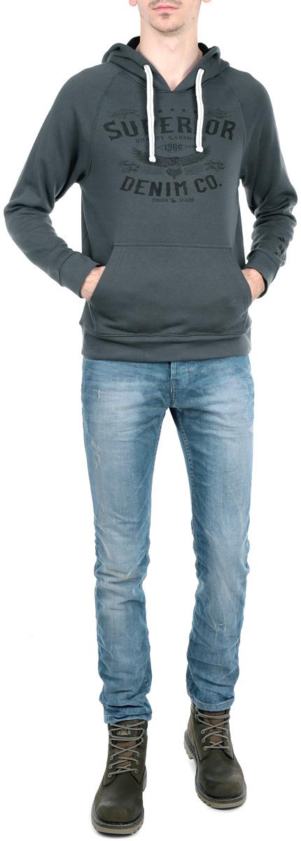 Толстовка мужская. 1015369510153695 54AСтильная мужская толстовка Broadway, изготовленная из хлопка с добавлением полиэстера, необычайно мягкая и приятная на ощупь, не сковывает движения, обеспечивая наибольший комфорт. Модель с капюшоном на кулиске и длинными рукавами дополнена принтовыми надписями. Толстовка имеет широкую трикотажную резинку по низу и манжетам, что предотвращает проникновение холодного воздуха. Спереди расположен объемный карман кенгуру. Эта модная и в тоже время комфортная толстовка отличный вариант как для активного отдыха, так и для занятий спортом!