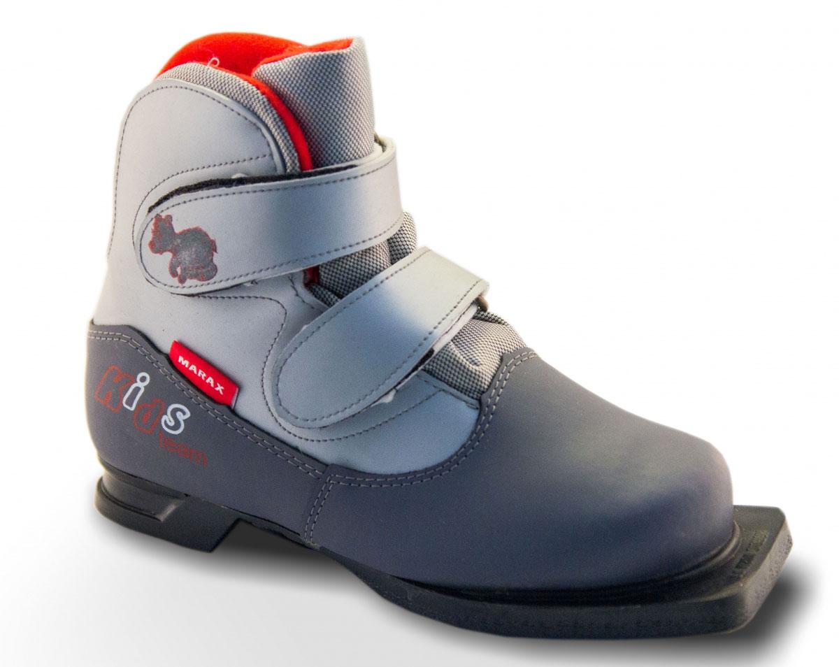 Ботинки лыжные детские. NN75NN75 KidsЛыжные детские ботинки Marax предназначены для активного отдыха. Модель изготовлена из морозостойкой искусственной кожи и текстиля. Подкладка выполнена из искусственного меха и флиса, благодаря чему ваши ноги всегда будут в тепле. Шерстяная стелька комфортна при беге. Вставка на заднике обеспечивает дополнительную жесткость, позволяя дольше сохранять первоначальную форму ботинка и предотвращать натирание стопы. Ботинки снабжены удобными застежками-липучками, которые надежно фиксируют модель на ноге и регулируют объем, а также язычком-клапаном, который защищает от попадания снега и влаги. Подошва системы 75 мм из двухкомпонентной резины, является надежной и весьма простой системой крепежа и позволяет безбоязненно использовать ботинок до -30°С. В таких лыжных ботинках вам будет комфортно и уютно.