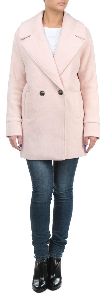 Пальто женское. SCOWOLACOONSCOWOLACOON SN/PNK015Элегантное женское пальто Tally Weijl согреет вас в прохладное время года. Модель с длинными рукавами и воротником с лацканами застегивается на две пуговицы спереди. Изделие дополнено двумя втачными открытыми карманами спереди. Это комфортное и стильное пальто - отличный вариант для прогулок, оно подчеркнет ваш изысканный вкус и поможет создать неповторимый образ.