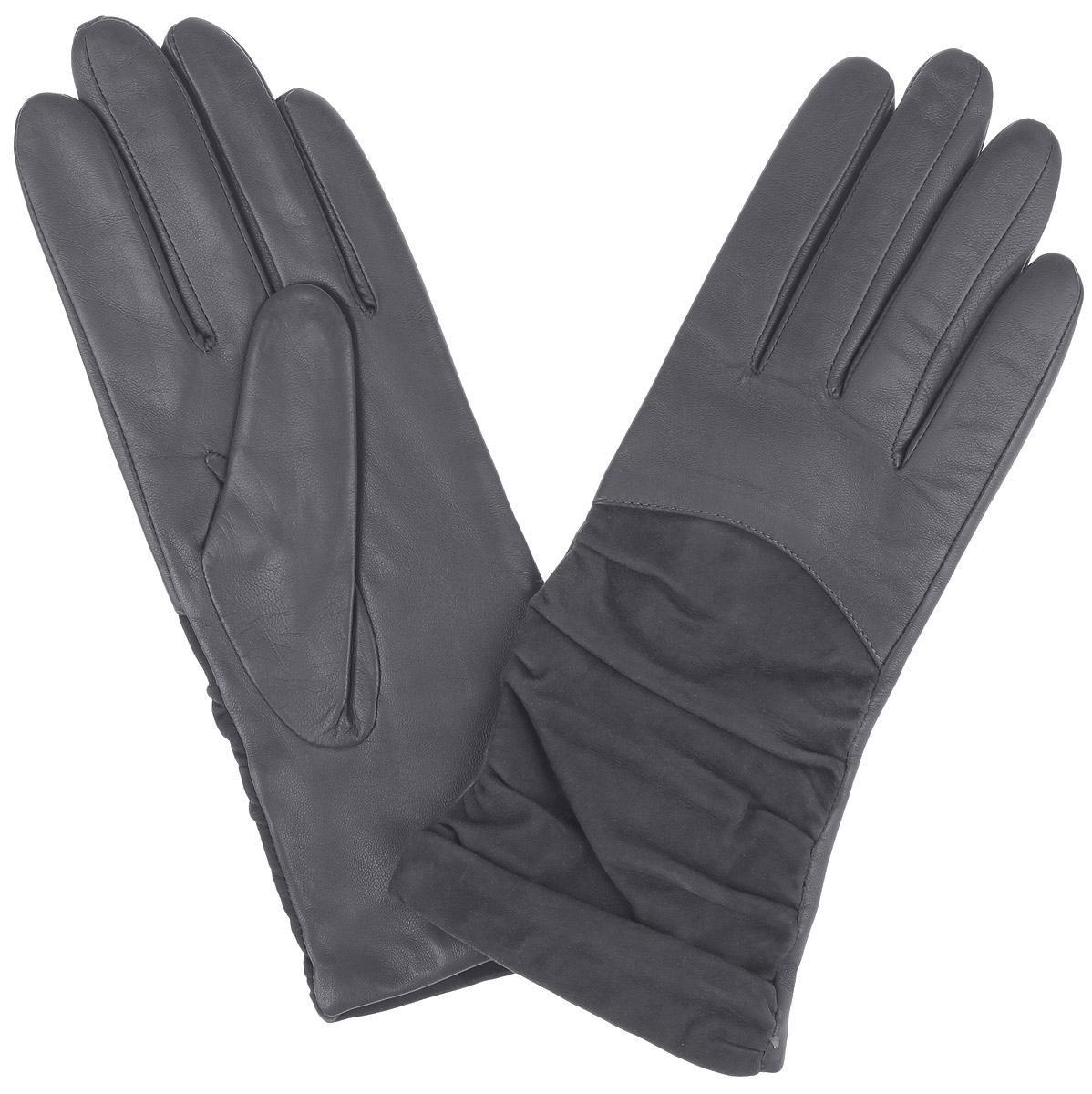 Перчатки9.10-9 greyВеликолепные женские перчатки Fabretti станут незаменимым аксессуаром в вашем гардеробе. Перчатки выполнены из чрезвычайно мягкой и приятной на ощупь эфиопской перчаточной кожи ягненка, а их подкладка - из шерсти с добавлением кашемира. С лицевой стороны изделие оформлено замшей с декоративной сборкой. Создайте элегантный образ и подчеркните свою яркую индивидуальность новым аксессуаром!