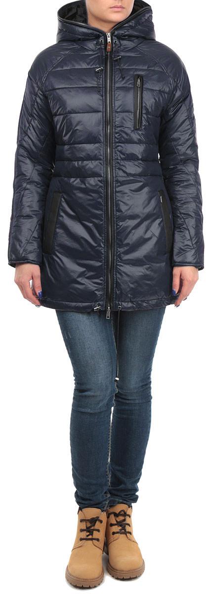 Куртка женская. 6010195560101955 366Удобная женская куртка Broadway согреет вас в прохладную погоду. Модель с длинными рукавами и капюшоном застегивается на застежку-молнию, которая продолжается по краю капюшона, и имеет наполнитель из синтепона. Объем капюшона и низа куртки регулируется при помощи шнурков-кулисок со стопперами. Куртка дополнена двумя открытыми втачными карманами и одним втачным карманом на молнии спереди. Изделие оформлено стеганым узором. Эта модная и в то же время комфортная куртка - отличный вариант для прогулок и занятия спортом, она подчеркнет ваш изысканный вкус и поможет создать неповторимый образ.
