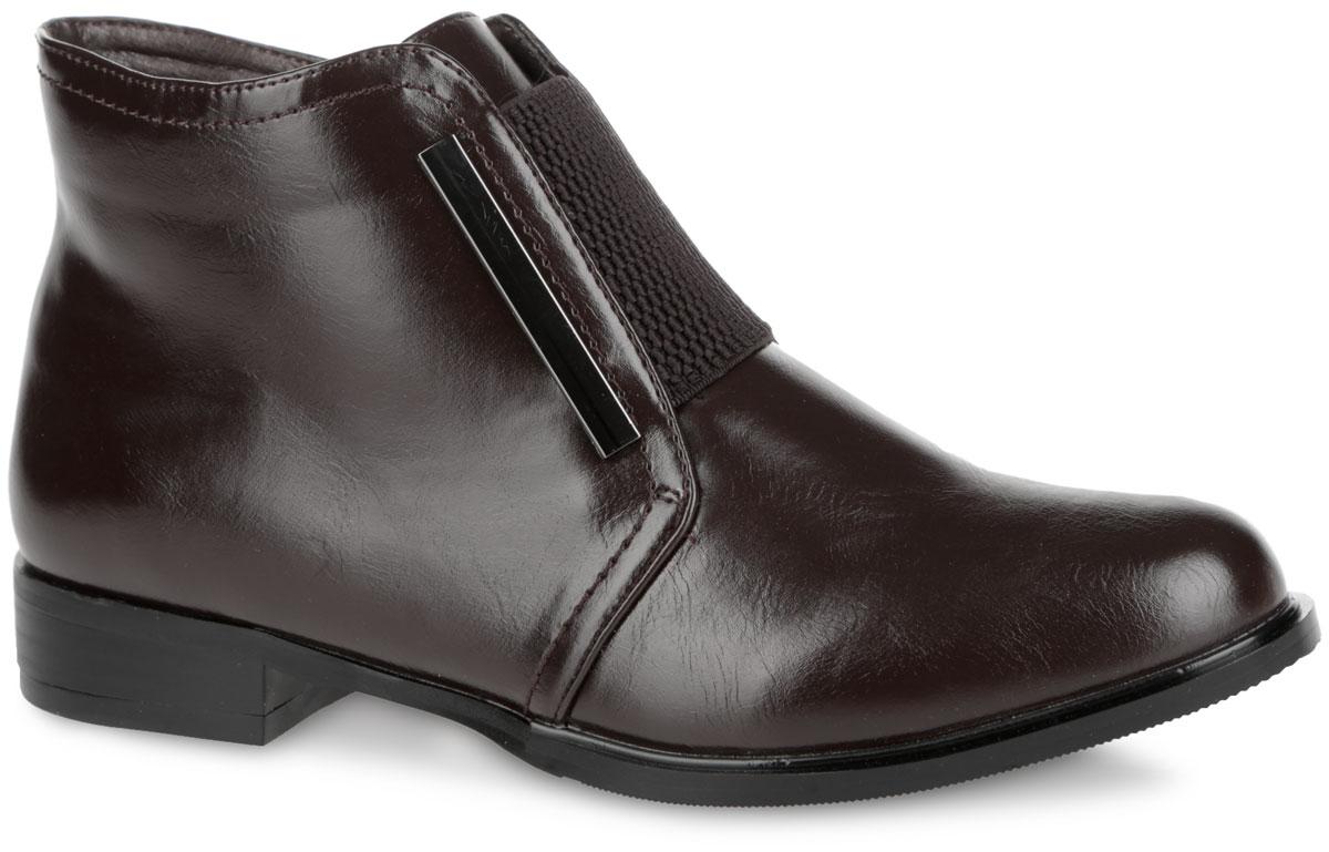 Ботинки женские. 958758/01-02958758/01-02Стильные женские ботинки от Betsy покорят вас с первого взгляда. Модель изготовлена из искусственной кожи и декорирована лаконичной прострочкой. Подъем изделия оформлен стрейчевой вставкой, берцы украшены металлическими пластинами. Застежка-молния, расположенная сбоку, прочно зафиксирует обувь на вашей ноге. Мягкая стелька дополнена нашивкой с названием бренда. Ботинки оснащены невысоким устойчивым каблуком. Подошва и каблук с противоскользящим рифлением обеспечивают отличное сцепление с поверхностью. Элегантные ботинки - незаменимая вещь в гардеробе истинной модницы.