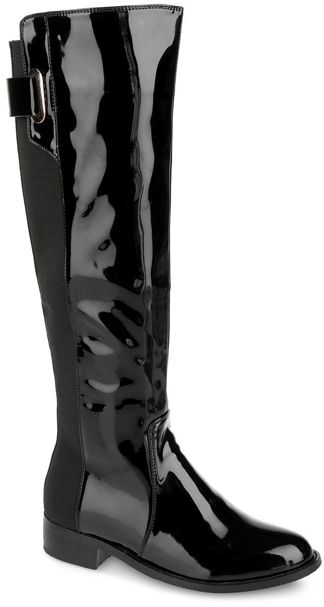 Сапоги женские. F2710-B179F2710-B179Стильные женские сапоги от Winzor займут достойное место в вашем гардеробе. Модель выполнена из искусственной лаковой кожи, оформленной фактурными швами по верху. Задняя часть изделия дополнена текстильными вставками и декоративным ремнем со стильной фурнитурой. Подкладка и стелька из мягкого ворсина защитят ноги от холода и обеспечат комфорт. Сапоги застегиваются на застежку-молнию, расположенную на одной из боковых сторон. Умеренной высоты каблук и подошва с рельефным протектором обеспечивают отличное сцепление на любой поверхности. Модные сапоги покорят вас своим оригинальным дизайном и удобством!