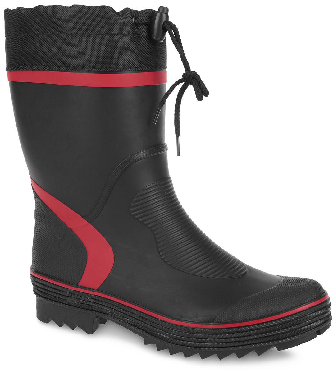 Резиновые сапоги мужские. 259-01259-01Стильные мужские резиновые сапоги Nobbaro - идеальная обувь в дождливую погоду. Сапоги выполнены из качественной резины. Текстильный верх голенища регулируется в объеме за счет шнурка со стоппером. Подкладка, выполненная из текстиля, подарит ощущение комфорта. Модель оснащена съемным текстильным носком, который согреет ваши ноги. Подошва с агрессивным протектором предотвращает скольжение. В таких резиновых сапогах вашим ногам будет комфортно и уютно.