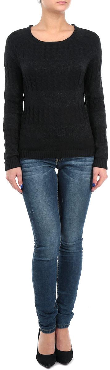 Пуловер женский. 1015064710150647Стильный вязаный пуловер Broadway, изготовленный из высококачественного материала, не сковывает движений, обеспечивая наибольший комфорт. Модель приталенного кроя с круглым вырезом горловины и длинными рукавами-реглан. Рукава и низ изделия выполнены резинкой. Пуловер оформлен чередующейся вязкой узор косички и лицевой гладью с добавлением блеска. Модель приятного однотонного оттенка идеально гармонирует с любыми предметами одежды. Такой пуловер базовая вещь в гардеробе современной женщины. В нем пуловере вы будете чувствовать себя уютно и комфортно в прохладную погоду.