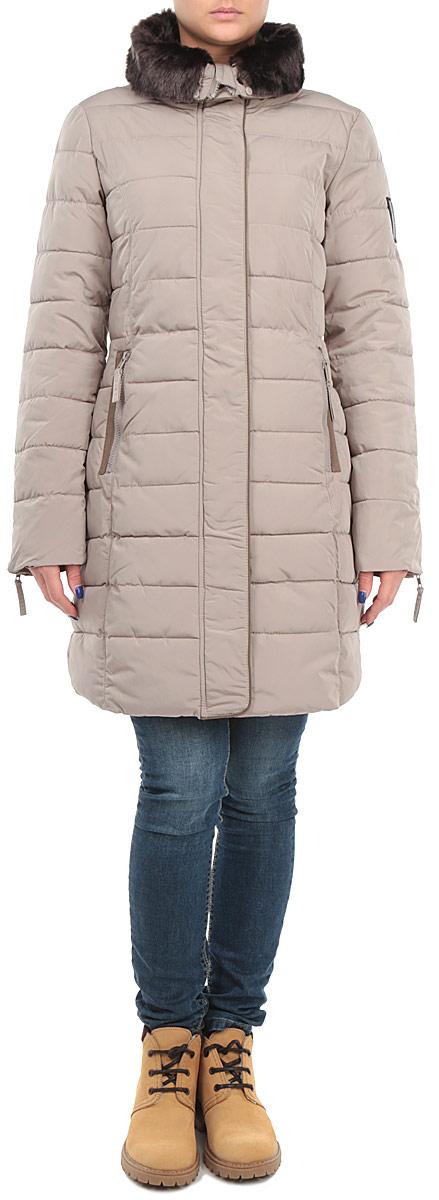 Куртка женская. 1015179810151798 720Стильная женская куртка Broadway, выполненная из высококачественных материалов, обеспечит максимальный комфорт при различных погодных условиях. Изделие приталенного силуэта с круглым воротником-стойкой и длинными рукавами застегивается на пластиковую застежку-молнию по всей длине и дополнительно ветрозащитной планкой на металлические кнопки. Модель дополнена утепленным воротником из искусственного меха, который при желании можно отстегнуть. Спереди модель дополнена двумя прорезными карманами. Модель оформлена эффектной стежкой. Эта яркая куртка послужит отличным дополнением к вашему гардеробу!