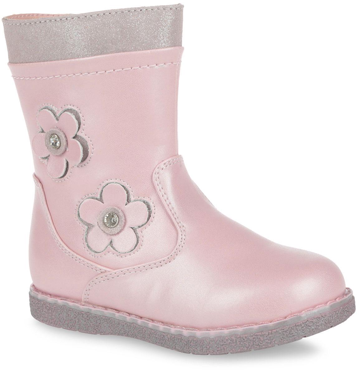 Полусапоги для девочки. 52-XC14452-XC144Очаровательные полусапоги от Flamingo придутся по душе вашей дочурке! Модель изготовлена из искусственной гладкой кожи и дополнена по канту вставкой из натуральной замши, оформленной декоративной лазерной обработкой. Подкладка и стелька, исполненные из шерстяной байки, согреют ножки в холодную погоду. Сбоку обувь украшена декоративной аппликацией в виде цветочков, инкрустированными стразами. Полусапоги застегиваются на застежку-молнию, расположенную на одной из боковых сторон. Подошва с протектором гарантирует идеальное сцепление с любой поверхностью. Стильные полусапоги займут достойное место в гардеробе вашего ребенка.