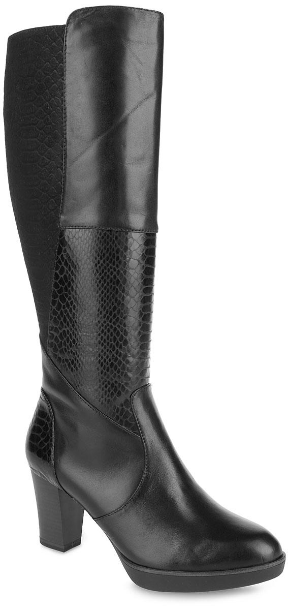 1-1-25576-35-001Необычайно удобные женские сапоги Tamaris - отличный вариант на каждый день. Модель выполнена из натуральной кожи, декорированной вставками из нубука и лаковой кожи с тиснением под рептилию, и оформлена фактурными швами по верху. Подкладка и анатомическая стелька из текстиля обеспечат комфорт и уют ногам. Сапоги застегивается на застежку-молнию, расположенную на одной из боковых сторон. Каблук, стилизованный под дерево, устойчив. Подошва с рельефным протектором обеспечивает отличное сцепление на любой поверхности. В таких сапогах вашим ногам будет уютно и комфортно. Они прекрасно дополнят ваш повседневный образ.