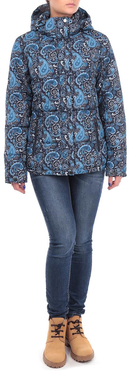 Куртка женская. B035549B035549_DARK NAVY PRINTEDСтильная женская куртка Baon, выполненная из высококачественных материалов, обеспечит максимальный комфорт при различных погодных условиях. Изделие приталенного силуэта с воротником-стойкой и длинными рукавами застегивается на пластиковую застежку-молнию и дополнительно ветрозащитным клапаном на металлические кнопки. Съемный капюшон дополнительно застегивается хлястиком на липучке и имеет внутреннюю резинку с фиксаторами. Них изделия так же дополнен внутренней эластичной резинкой с фиксатораси. Манжеты изделия дополнены хлястиками на металлических кнопках. Спереди модель дополнена двумя прорезными карманами на молнии. Модель оформлена ярким узорчатым фотопринтом. Эта яркая куртка послужит отличным дополнением к вашему гардеробу!
