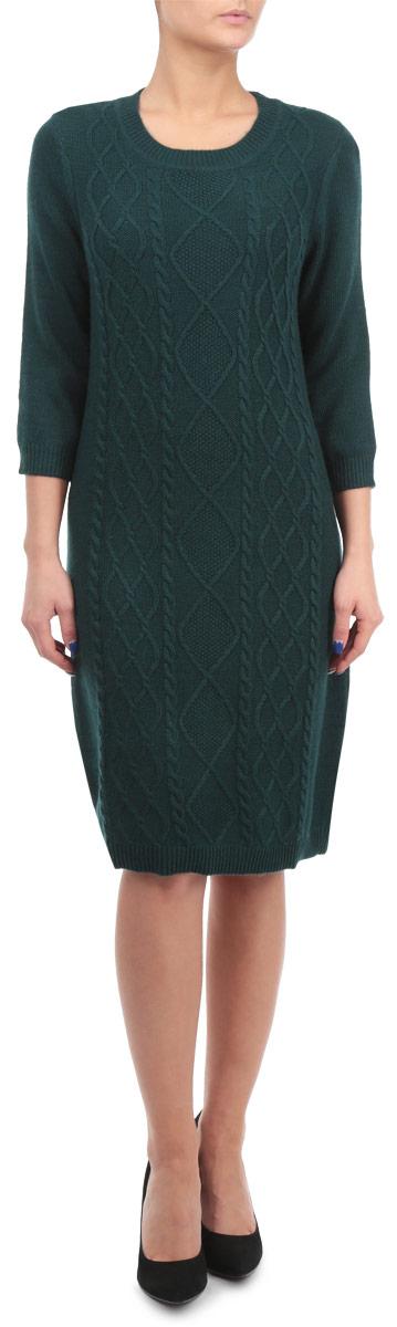 Платье. B455506B455506Вязаное платье Baon стильный вариант для тех, кто ценит тепло и комфорт. Модель приталенного силуэта с рукавами 3/4, выполнена из пряжи с добавлением ангоры и вискозы, что придает ей мягкость и шелковистость. Передняя часть изделия украшена аранским узором. Это модное и в тоже время комфортное платье послужит отличным дополнением в холодное время года к вашему гардеробу.