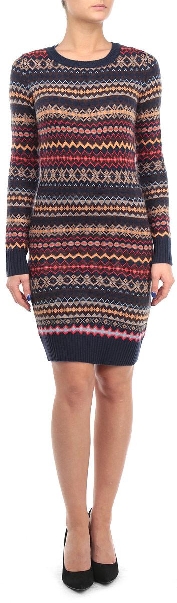 Платье. B455542B455542Элегантное вязаное платье Baon изготовлено из высококачественной пряжи с добавлением вискозы и ангоры. Такое платье приятно к телу, обеспечит вам комфорт и удобство при носке. Модель с круглым вырезом горловины и длинными рукавами выгодно подчеркнет все достоинства вашей фигуры благодаря приталенному силуэту. Манжеты рукавов, низ и вырез горловины платья связаны резинкой. Платье оформлено красочным геометрическим орнаментом. Изысканное платье-миди мелкой вязки создаст обворожительный и неповторимый образ. Это модное и удобное платье станет превосходным дополнением к вашему гардеробу, оно подарит вам удобство и поможет вам подчеркнуть свой вкус и неповторимый стиль.