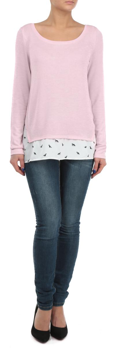 ПуловерSPUACTWIN HH/BLK001Стильный женский пуловер Tally Weijl, изготовленный из мягкой вискозы с добавлением полиэстера и эластана, не сковывает движения, обеспечивая наибольший комфорт. Модель с круглым вырезом горловины и длинными рукавами. По нижнему краю пуловер дополнен широкой оборкой, выполненной из полупрозрачного материала контрастного цвета с принтом. Этот модный пуловер послужит отличным дополнением к вашему гардеробу, он станет главной составляющей вашего стиля. В нем вы всегда будете чувствовать себя уютно и комфортно.