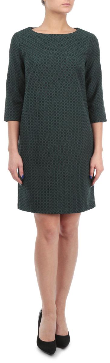 Платье. B455509B455509Стильное платье Baon придаст очарование и женственность своей обладательнице. Модель свободного кроя, выполнена из трикотажа средней плотности. Платье с круглым вырезом горловины и рукавами длиной 3/4. Материал оформлен жаккардовым рисунком. На груди расположены вытачки. Застёгивается изделие на металлическую молнию на спинке. Изысканный наряд создаст обворожительный неповторимый образ.