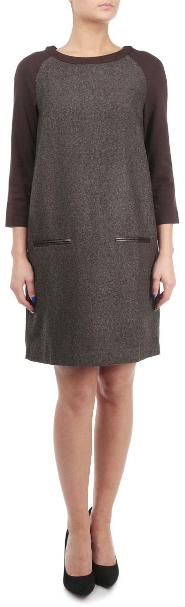 Платье. B455541B455541Стильное платье Baon, выполненное из высококачественного плотного материала с подкладкой, обеспечит вам тепло и безупречный внешний вид. Модель прямого свободного кроя с трикотажными укороченными рукавами-реглан и круглым вырезом горловины оформлена узором елочка. Изделие застегивается на скрытую пластиковую молнию на спинке. Спереди платье дополнено имитацией врезных карманов, декорированных полосками искусственной кожи. Это модное и в тоже время комфортное платье послужит отличным дополнением к вашему гардеробу. В таком платье можно отправиться на работу в холодную погоду.