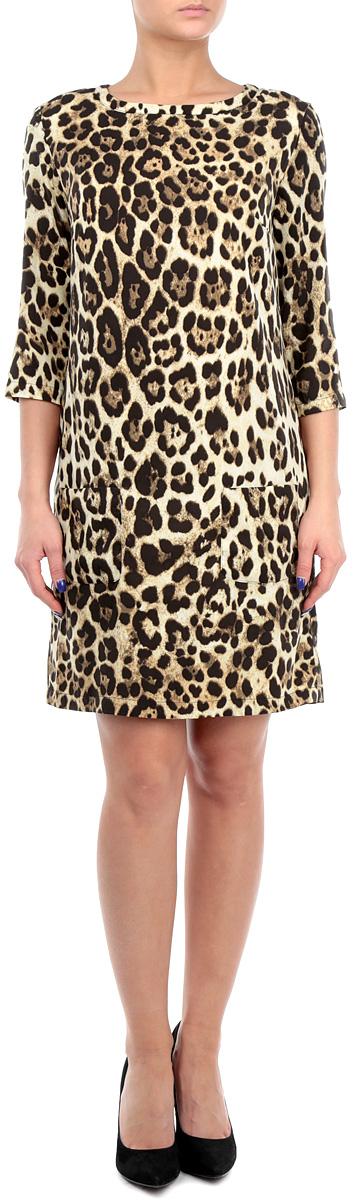 Платье. B455522B455522Элегантное платье Baon изготовлено из высококачественного эластичного полиэстера, гладкого и приятного на ощупь. Такое платье приятно к телу, обеспечит вам комфорт и удобство при носке. Модель с круглым вырезом горловины и рукавами до локтя оформлено стильным принтом в виде пятен леопарда. Изделие застегивается на пуговицу на спинке, спереди дополнено двумя накладными карманами. Изысканное платье-миди с тонким подъюбником создаст обворожительный и неповторимый образ. Это модное и удобное платье станет превосходным дополнением к вашему гардеробу, оно подарит вам удобство и поможет вам подчеркнуть свой вкус и неповторимый стиль.