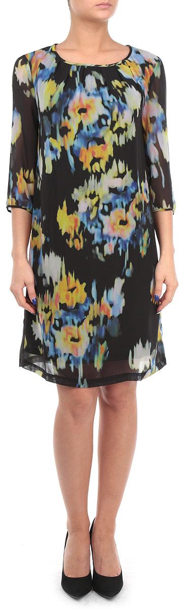 Платье. B455515B455515Элегантное платье Baon придаст очарование и женственность своей обладательнице. Модель выполнена из струящегося шифона с подкладкой. Рукава длиной 3/4 выполнены без подкладки. Материал украшен модным акварельным принтом. Вдоль округлого выреза горловины и манжет заложены складки. На спине расположена застежка-пуговица. Изысканный наряд создаст обворожительный неповторимый образ.