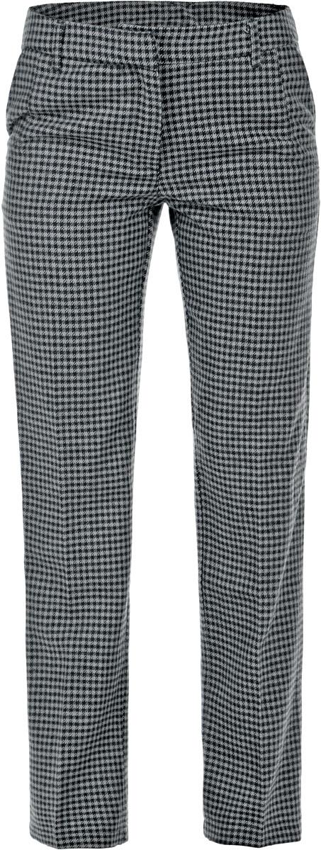 B295530Классические женские брюки Baon из ткани с добавлением шерсти - элегантный вариант для холодной погоды. Материал изделия украшен всегда актуальным узором гусиная лапка. Изделие застёгивается на пуговицу и потайной крючок в поясе и ширинку на застежке-молнии, пояс дополнен шлевками для ремня. По бокам и сзади расположены по два врезных кармана. Эти модные и в тоже время комфортные брюки послужат отличным дополнением к вашему гардеробу. В них вы всегда будете чувствовать себя стильно и уверенно.