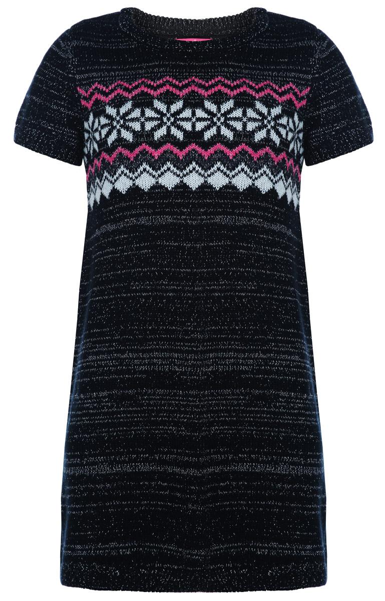 DSws-617/407-5434Вязаное платье для девочки Sela идеально подойдет вашей дочурке в прохладное время года. Изготовленное из хлопковой пряжи с добавлением нейлона и шерсти, оно необычайно мягкое и приятное на ощупь, не сковывает движения и позволяет коже дышать, не раздражает даже самую нежную и чувствительную кожу ребенка, обеспечивая ему наибольший комфорт. Платье с короткими рукавами и круглым вырезом горловины оформлено вязаным орнаментом и украшено люрексом. Рукава, вырез горловины и низ платья связаны крупной резинкой. Это модное детское платье послужит отличным дополнением к гардеробу вашей дочурки. В нем она будет чувствовать себя уютно и комфортно, и всегда будет в центре внимания!