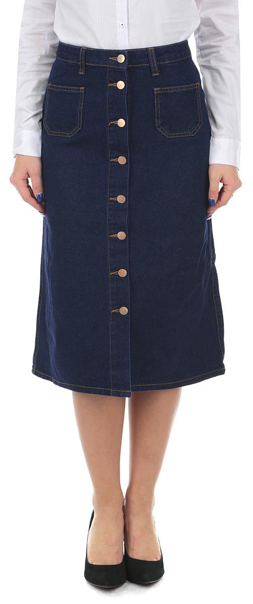 Юбка. SSKDELONGYSSKDELONGY EHB/BLU035Стильная юбка Tally Weijl, выполненная из 100%-го хлопка станет прекрасным дополнением вашего гардероба. Модель на широком поясе со шлевками для ремня, спереди дополнена двумя нашивными карманами. Изделие оформлено контрастной отстрочкой. Спереди по всей длине юбка застегивается на металлические пуговицы. Стильная юбка непременно украсит ваш гардероб и добавит образу женственности.