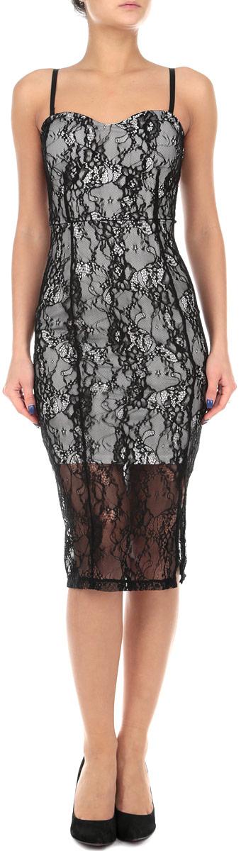 Платье. SDRLACONGYSDRLACONGY HH/BLK001Элегантное платье Tally Weijl изготовлено из высококачественного эластичного полиамида. Такое платье обеспечит вам комфорт и удобство при носке. Модель на бретельках выгодно подчеркнет все достоинства вашей фигуры благодаря приталенному и облегающему силуэту. Платье дополнено поролоновыми формованными чашками, имеет плотную контрастную подкладку. Платье застегивается на застежку-молнию сзади. Изделие оформлено ажурными кружевами с цветочными узорами. Изысканное платье-миди с пришивной юбкой создаст обворожительный и неповторимый образ. Это модное и удобное платье станет превосходным дополнением к вашему гардеробу, оно подарит вам удобство и поможет вам подчеркнуть свой вкус и неповторимый стиль.