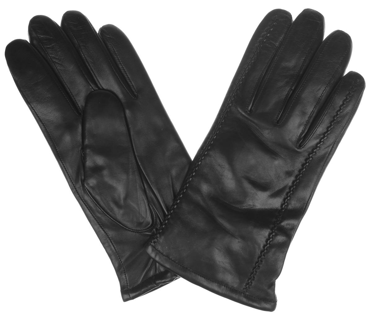 Перчатки мужские. HP607HP607Элегантные мужские перчатки Eleganzza с удлиненными пальцами станут великолепным дополнением вашего образа и защитят ваши руки от холода и ветра во время прогулок. Перчатки выполнены из натуральной кожи и имеют подкладку из шерстяной пряжи с добавлением кашемира, что позволяет им надежно сохранять тепло и обеспечивает высокую гигроскопичность. Строгие и лаконичные перчатки, оформленные объемными декоративными строчками, будут оригинальным завершающим штрихом в создании современного модного образа, они подчеркнут ваш вкус и станут незаменимым и практичным аксессуаром.