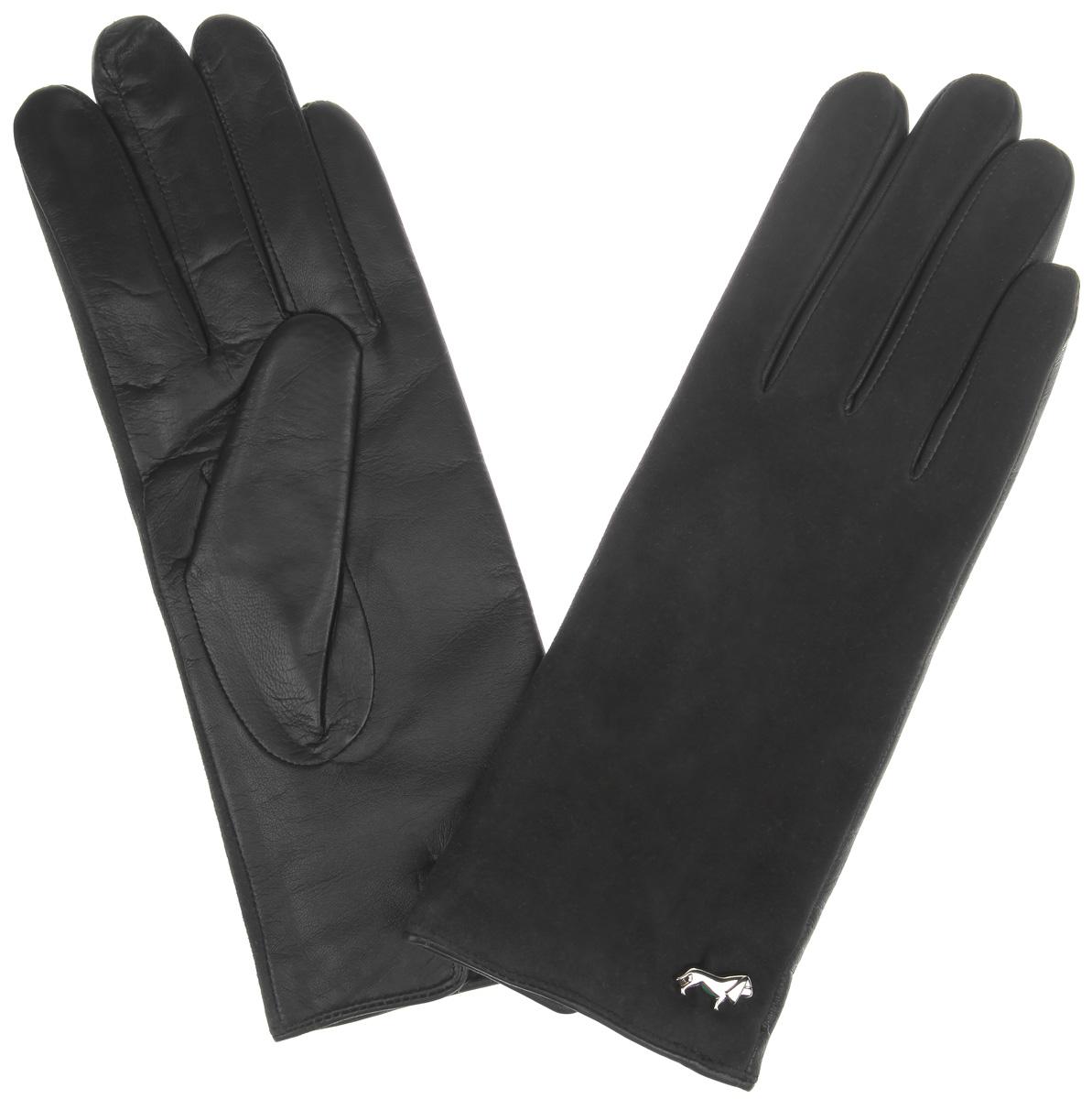 Перчатки женские. LB-4707LB-4707Классические женские перчатки Labbra не только защитят ваши руки, но и станут великолепным украшением. Тыльная сторона перчаток выполнена из замши, а на ладошках - из чрезвычайно мягкой и приятной на ощупь натуральной кожи ягненка, а их подкладка - из натуральной шерсти с добавлением акрила. Внешняя сторона оформлена фирменным логотипом в виде собачки. Качественная отделка кожи ягненка делает эту модель не только красивой, но и долговечной. В настоящее время перчатки являются неотъемлемой принадлежностью одежды, вместе с этим аксессуаром вы обретаете женственность и элегантность. Перчатки станут завершающим и подчеркивающим элементом вашего стиля и неповторимости.