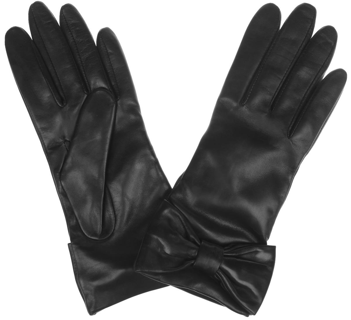 ПерчаткиF-IS0055Элегантные женские перчатки Eleganzza станут великолепным дополнением вашего образа и защитят ваши руки от холода и ветра во время прогулок. Перчатки выполнены из натуральной кожи и имеют подкладку из полушерстяной пряжи с добавлением кашемира, что позволяет им надежно сохранять тепло и обеспечивает высокую гигроскопичность. Перчатки оформлены декоративными кожаными бантами на запястьях. Такие перчатки будут оригинальным завершающим штрихом в создании современного модного образа, они подчеркнут ваш изысканный вкус и станут незаменимым и практичным аксессуаром.