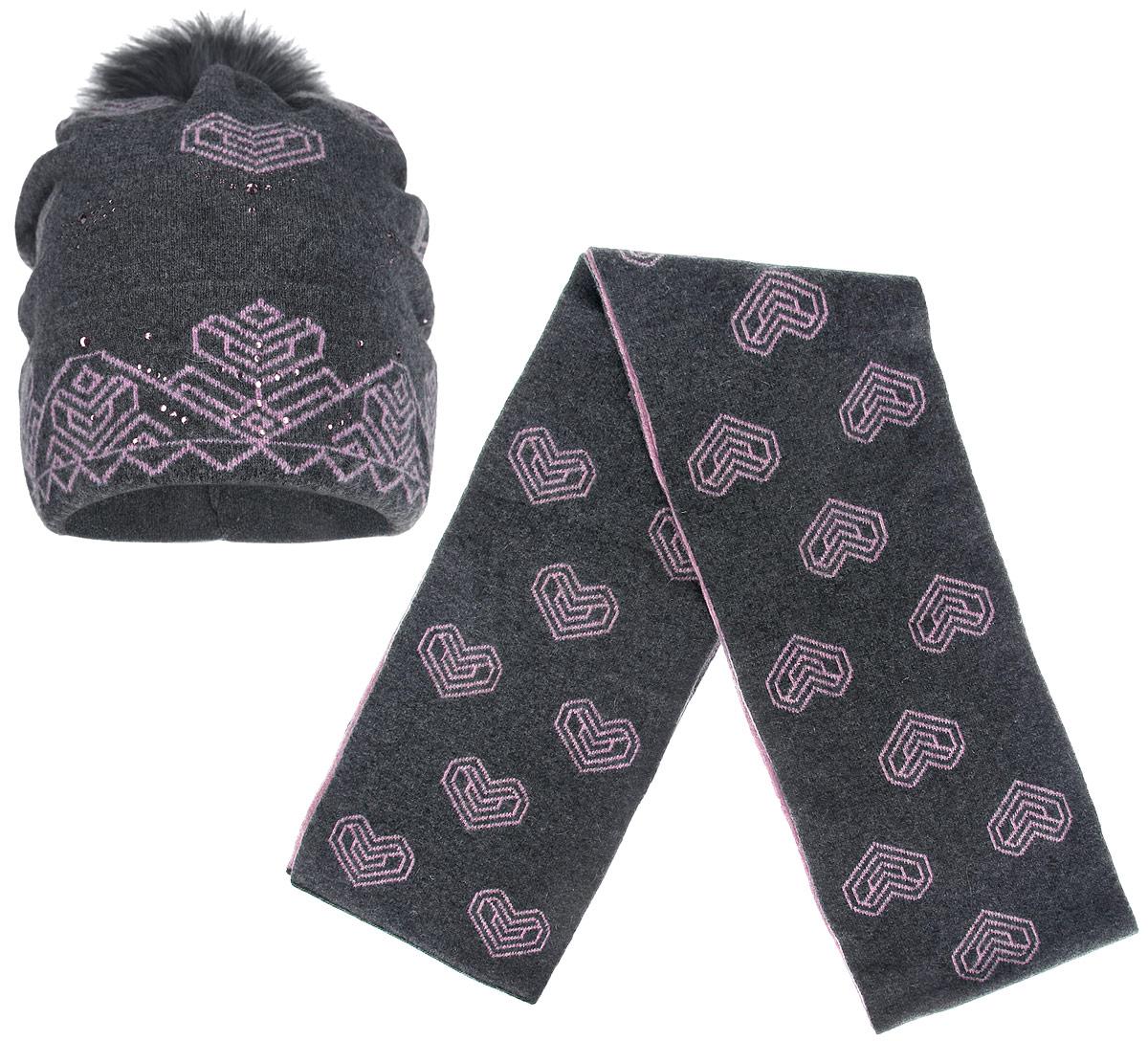 Комплект женский: шапка, шарф. 2012-412012-41-dark gray/pinkПотрясающий женский комплект Fabretti, состоящий из шапки и шарфа, оформлен узорами в виде сердец. Комплект выполнен из шерсти с добавлением полиамида. Шапочка с отворотом украшена стразами и помпоном из натурального меха. Тыльная сторона шапки дополнена сборкой для оптимальной посадки модели. Отличный комплект на каждый день.