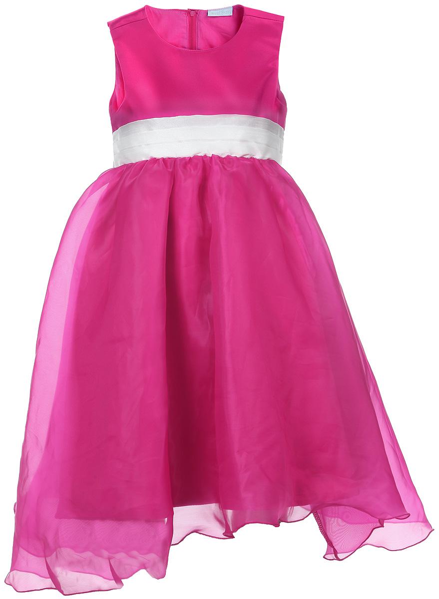 Платье для девочки. 185904/185903185903Яркое платье для девочки Sweet Berry станет отличным дополнением к гардеробу вашей модницы. Платье изготовлено из полиэстера на подкладке из натурального хлопка, оно мягкое и очень приятное на ощупь, не сковывает движения и позволяет коже дышать, не раздражает даже самую нежную и чувствительную кожу ребенка, обеспечивая наибольший комфорт. Платье с круглым вырезом горловины имеет слегка завышенную линию талии. Модель на спинке застегивается на молнию, что помогает с легкостью переодеть ребенка. Пояс контрастного цвета собран в равномерные складки, сзади завязывается на бант. Верхняя часть объемной многослойной юбки выполнена из органзы, верх платья и нижняя юбка - из атласа. На подъюбнике предусмотрена оборка из сетки, придающая объем. Такое красивое и яркое платье идеально подойдет для праздничных мероприятий. В нем каждая девочка почувствует себя настоящей принцессой, и всегда будет в центре внимания!