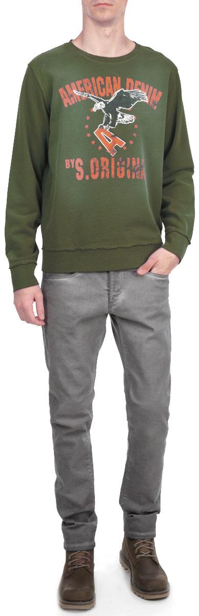 Свитшот мужской. 2-751612-75161 DK FORESTСтильный мужской свитшот Shine, изготовленный из высококачественного материала, необычайно мягкий и приятный на ощупь, не сковывает движения, обеспечивая наибольший комфорт. Спереди модель декорирована изображением орла и принтовыми надписями. Свитшот имеет широкую мягкую резинку по низу и манжетам, что предотвращает проникновение холодного воздуха. Эта модная и в тоже время комфортная модель отличный вариант как для активного отдыха, так и для занятий спортом!