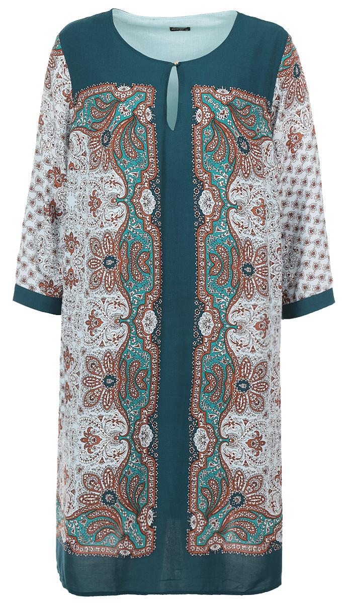 ПлатьеB455607Стильное платье Baon - прекрасный вариант для праздника и для повседневной носки. Модель с круглым вырезом горловины и рукавами 3/4, сверху застегивается на пуговку. Платье свободного кроя скроет все недостатки фигуры. Великолепный орнамент, подкладка из 100% хлопка. В таком наряде вы, безусловно, привлечете восхищенные взгляды окружающих.