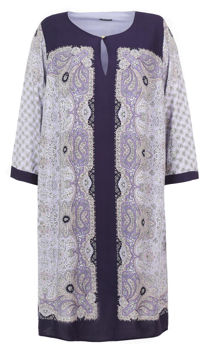 B455607Стильное платье Baon - прекрасный вариант для праздника и для повседневной носки. Модель с круглым вырезом горловины и рукавами 3/4, сверху застегивается на пуговку. Платье свободного кроя скроет все недостатки фигуры. Великолепный орнамент, подкладка из 100% хлопка. В таком наряде вы, безусловно, привлечете восхищенные взгляды окружающих.