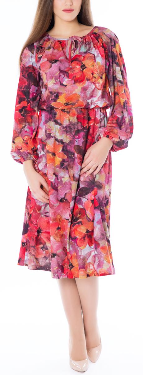 Платье669Эффектное платье-миди в романтическом стиле Lautus идеально впишется в ваш гардероб. Модель приталенного силуэта с круглым вырезом горловины и длинным рукавами-реглан, изготовлена из высококачественного трикотажа. Горловина модели оформлена кантом и дополнена вырезом-капелькой с завязками. Свободные рукава-реглан пышно присобраны у запястий на резинку. Линия талии подчеркнута внутренней резинкой. Красочный принт и обилие сборок создают легкий, жизнерадостный образ. Платье поможет вам превратить будни в праздники, а праздники сделать еще ярче.