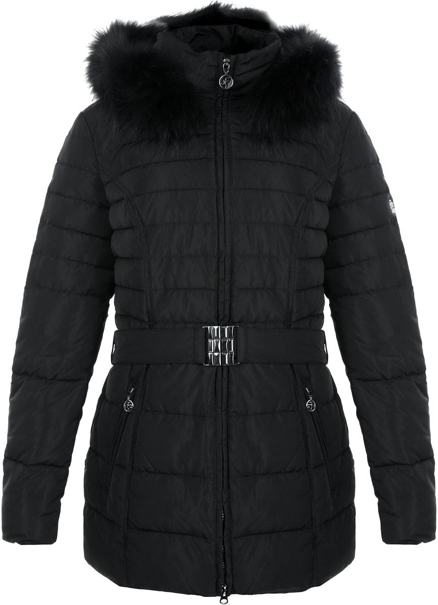Куртка женская. W15-11008W15-11008Стильная и удлиненная женская куртка Finn Flare подчеркнет креативность вашего вкуса. Модель приталенного кроя с отстегивающимся капюшоном застегивается на застежку-молнию. Капюшон дополнен съемной опушкой из натурального крашеного меха енота. Утеплитель - синтепон. Куртка дополнена двумя боковыми карманами на застежках-молниях. К модели прилагается пояс с эластичной вставкой и металлической пряжкой. Эта модная куртка послужит отличным дополнением к вашему гардеробу.