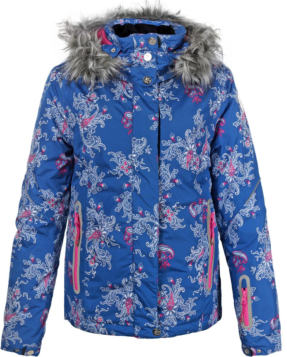 Куртка женская. Cp-126/573-5302DCp-126/573-5302DСтильная женская куртка Sela, выполненная из высококачественных материалов, обеспечит максимальный комфорт при различных погодных условиях. Изделие прямого кроя воротником-стойкой и длинными рукавами застегивается на пластиковую застежку-молнию по всей длине и дополнительно ветрозащитной планкой на металлические кнопки. Рукава и капюшон изделия дополнительно застегиваются на кнопки. Съемный капюшон изделия декорирован искусственным мехом, который при желании можно отстегнуть. Рукава изделия дополнены эластичными текстильными манжетами, препятствующими проникновению холодного воздуха. Спереди модель дополнена тремя прорезными карманами на молнии. На внутренней стороне куртка оснащена горизонтальной ветрозащитной планкой на резинке, застегивающейся на кнопки, нашивным карманом-сеткой и втачным карманом на молнии. Модель оформлена ярким цветочным фотопринтом и светоотражающими элементами. Эта яркая куртка послужит отличным дополнением к вашему гардеробу!