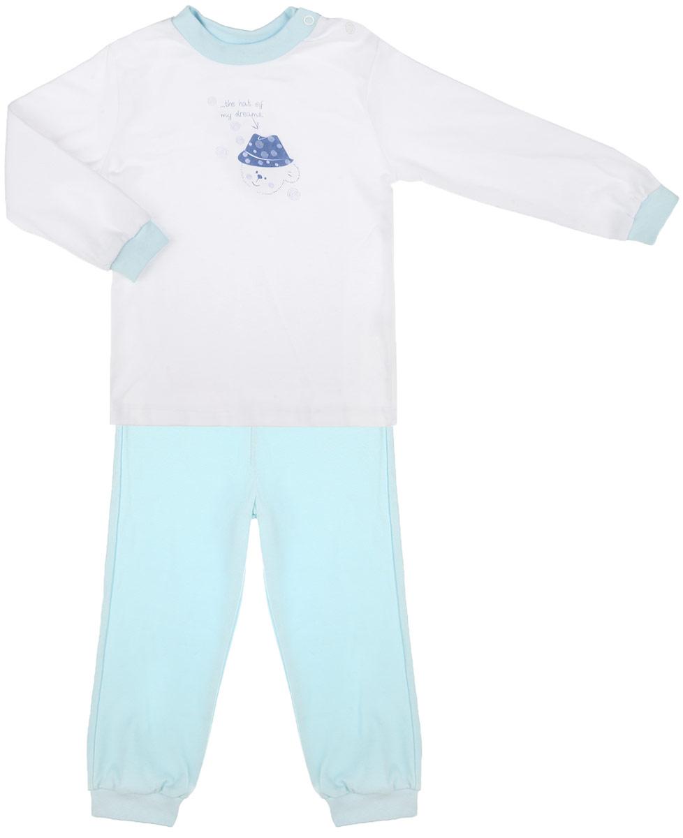 Пижама3274Детская пижама КотМарКот Мишка в шляпе, состоящая из футболки с длинным рукавом и брюк, идеально подойдет вашему ребенку и станет отличным дополнением к его гардеробу. Выполненная из натурального хлопка, она необычайно мягкая и легкая, не сковывает движения, позволяет коже дышать и не раздражает даже самую нежную и чувствительную кожу ребенка. Футболка с длинными рукавами и круглым вырезом горловины имеет застежки-кнопки по плечевому шву, что помогает с легкостью переодеть ребенка. Вырез горловины и манжеты на рукавах дополнены трикотажными эластичными резинками. Модель оформлена нежным принтом с изображением медвежонка, а также надписью. Брюки прямого кроя на талии имеют эластичную резинку, благодаря чему они не сдавливают животик ребенка и не сползают. Низ брючин дополнен широкими трикотажными манжетами. В такой пижаме ваш ребенок будет чувствовать себя комфортно и уютно во время сна.