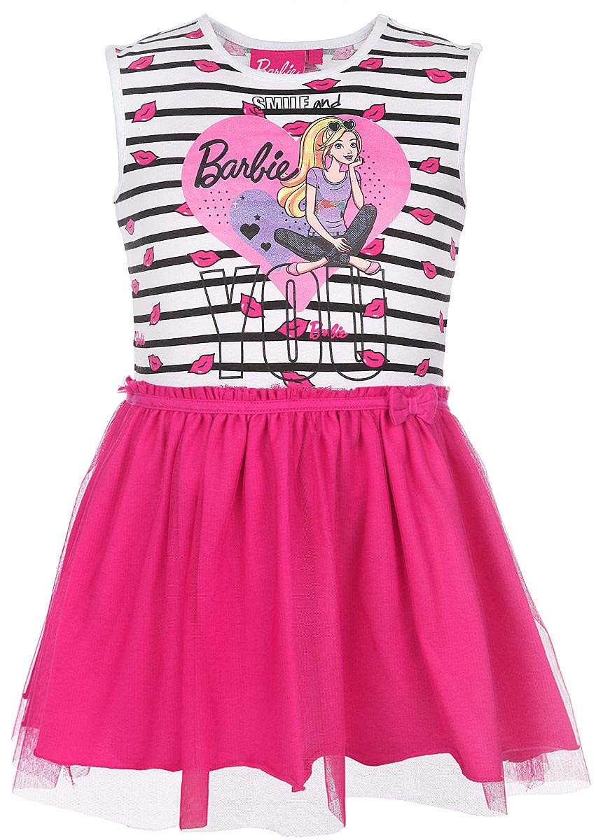 ПлатьеZG 15092-WF1Платье для девочки Free Age Barbie идеально подойдет вашей маленькой моднице и станет отличным дополнением к летнему гардеробу. Изготовленное из высококачественного материала, оно мягкое и приятное на ощупь, не сковывает движения и позволяет коже дышать, не раздражает нежную кожу ребенка, обеспечивая наибольший комфорт. Платье без рукавов с круглым вырезом горловины оформлено принтом в полоску, а также термоаппликацией с изображением сердечка и Барби. Пышная юбочка дополнена оборкой из микросетки и украшена объемным бантиком на талии. В таком платье ваша принцесса будет чувствовать себя комфортно, уютно и всегда будет в центре внимания!
