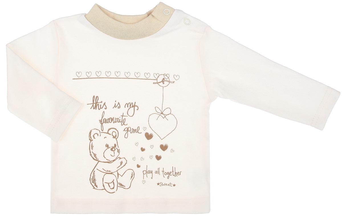 Кофточка детская Мишка. 30863086Детская кофточка КотМарКот Мишка послужит идеальным дополнением к гардеробу вашего ребенка, обеспечивая ему наибольший комфорт. Кофточка с длинными рукавами и небольшим воротником-стойкой изготовлена из интерлока - натурального хлопка, благодаря чему она необычайно мягкая и легкая, не раздражает нежную кожу ребенка и хорошо вентилируется, а эластичные швы приятны телу младенца и не препятствуют его движениям. Удобные застежки-кнопки по плечу помогают легко переодеть ребенка. Воротник дополнен трикотажной эластичной резинкой. Спереди изделие оформлено принтом с изображением медвежонка и сердечек, а также принтовыми надписями на английском языке. Кофточка полностью соответствует особенностям жизни ребенка в ранний период, не стесняя и не ограничивая его в движениях. В ней ваш младенец всегда будет в центре внимания.