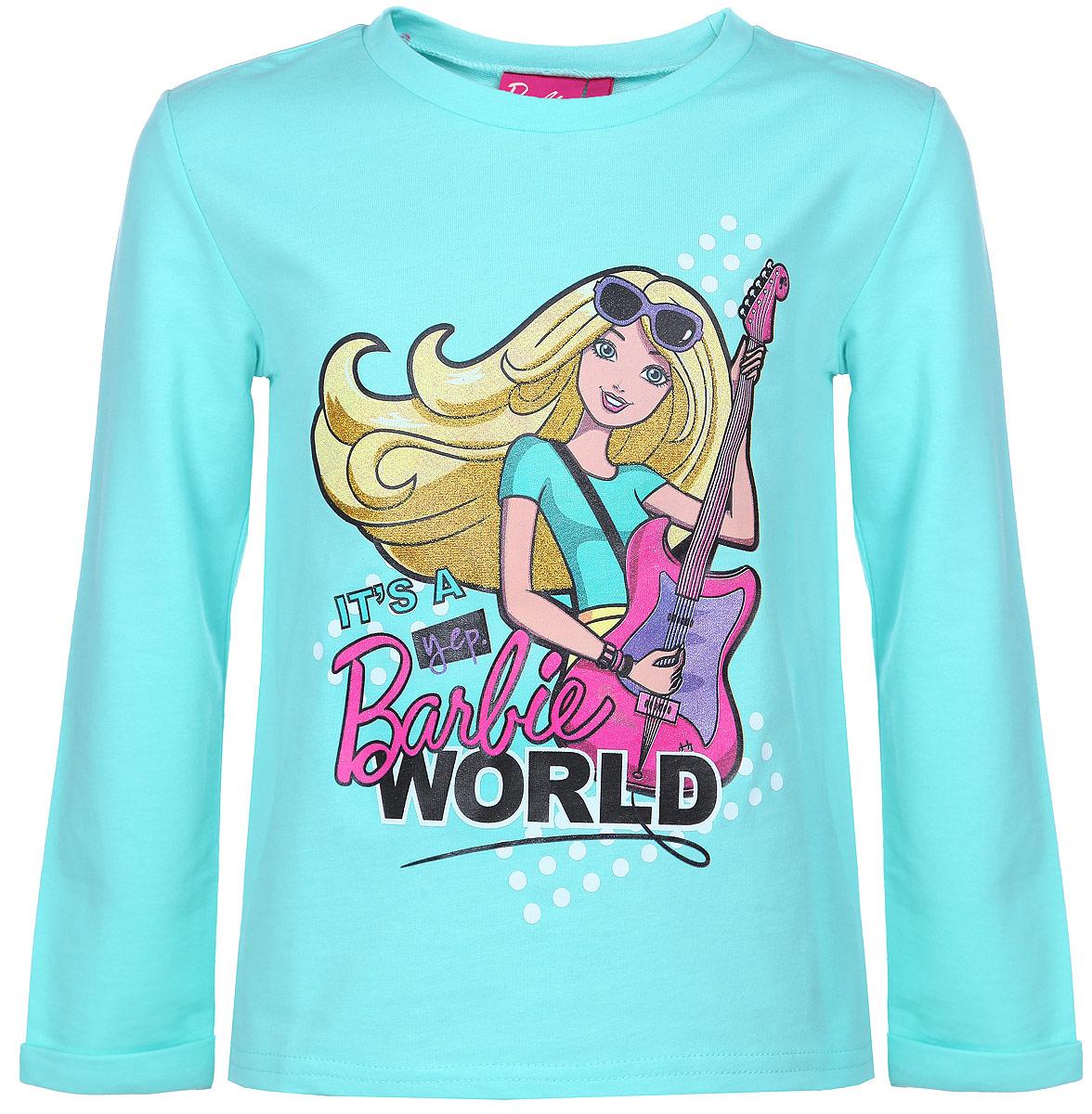 ЛонгсливZG 09251-G1Футболка с длинным рукавом для девочки Free Age Barbie станет отличным дополнением к гардеробу маленькой модницы. Изготовленная из натурального хлопка, она мягкая и приятная на ощупь, не сковывает движения и позволяет коже дышать, обеспечивая наибольший комфорт. Лицевая сторона изделия гладкая, а изнаночная - с небольшими петельками. Футболка с длинными рукавами и круглым вырезом горловины оформлена термоаппликацией с изображением куклы Барби, а также надписями. Края рукавов дополнены декоративными отворотами. Спинка модели удлинена. Изделие декорировано блестящим напылением. Стильный и яркий дизайн делает эту футболку модным предметом детской одежды. В ней ваша принцесса всегда будет в центре внимания.