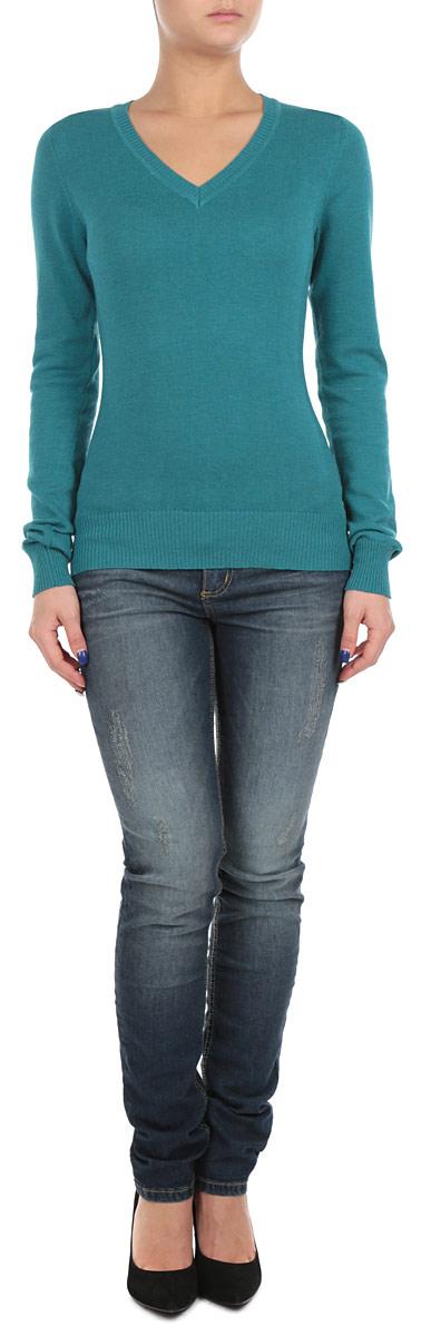 Пуловер женский. B135708B135708_ATLANTIK DEEP MELANGEСтильный женский пуловер Baon, изготовленный из высококачественного материала, необычайно мягкий и приятный на ощупь, не сковывает движения, обеспечивая наибольший комфорт. Модель приталенного силуэта с V-образным вырезом горловины и длинными рукавами. Широкие мягкие резинки по низу и манжетам изделия препятствуют проникновению холодного воздуха. Этот модный и в тоже время комфортный пуловер станет отличным дополнением вашего гардероба!